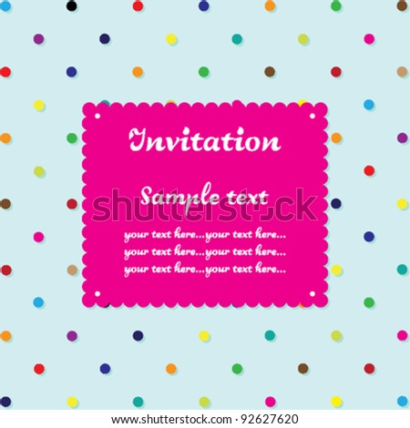 Invitation card - colorful dots with mint background