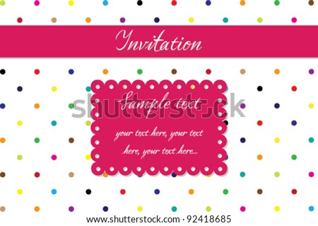 Invitation card - colorful dotted background