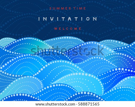 Invitation card on navy blue background with watercolor waves ornament - vector illustration