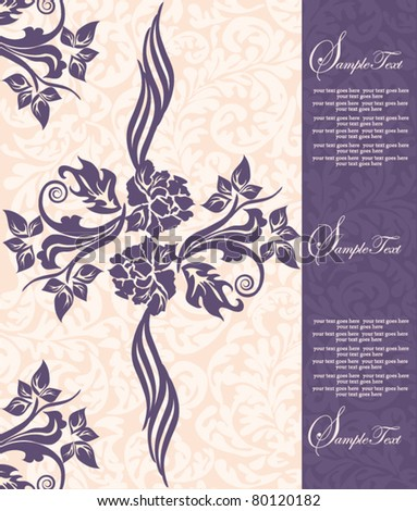 Invitation card on pink background with purple flowers