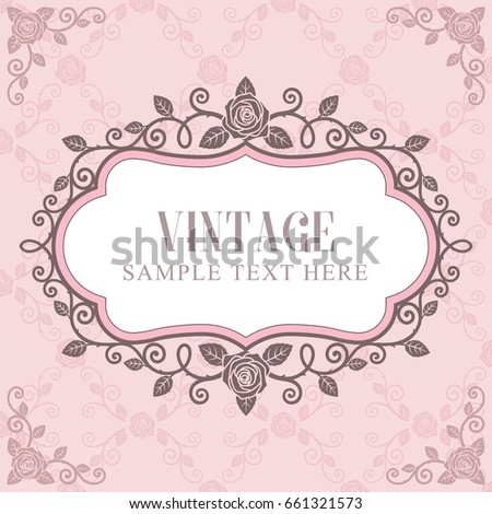 Invitation Card Roses Vintage Frame On Pink Roses Pattern