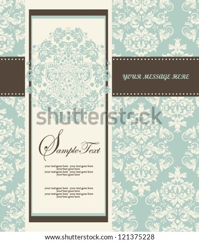 Invitation card style damask