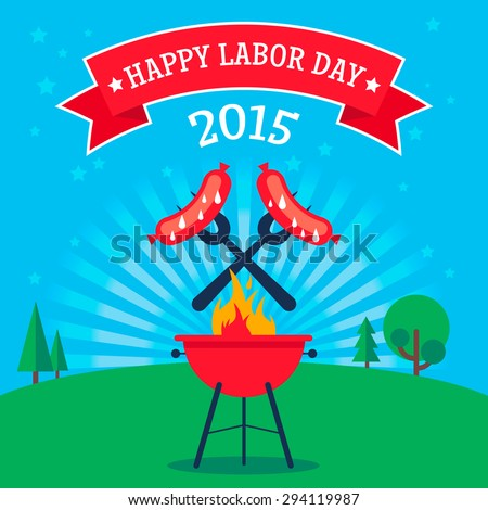Invitation card to the Labor Day. Grilled sausages on the forks on the background of the natural green landscape. Illustration in a flat style. Fully editable vector.
