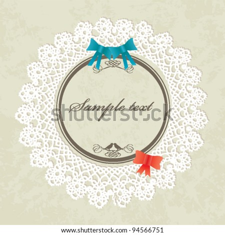 Invitation card / Valentines card - vintage design, vector