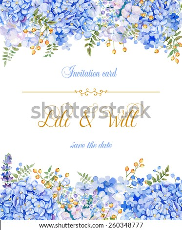 invitation card vector blue