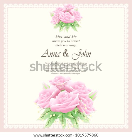 Invitation card, Wedding card with pink rose background #1019579860