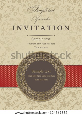 Invitation card with a red ribbon