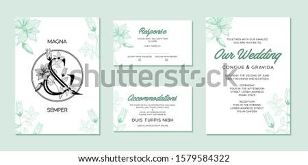 Invitation card with ampersand leaves. Simple wedding invitations design.
