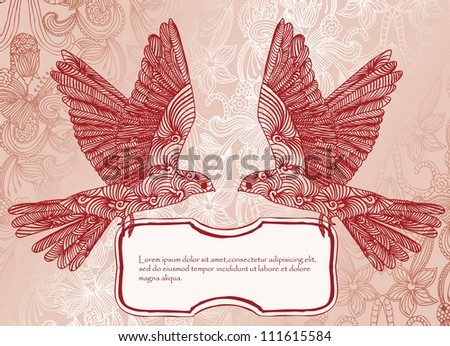 invitation card with birds