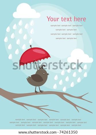 invitation card with cute bird