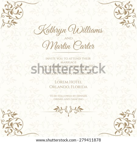 Invitation card with floral seamless pattern. Wedding invitation. Template cards.