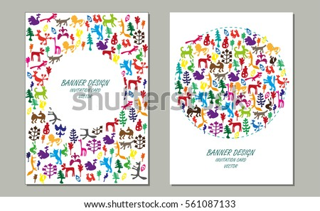 Invitation Card with Funny Animals. Vector illustration.