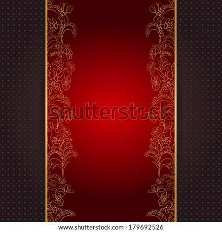 Invitation card with gold floral ornament