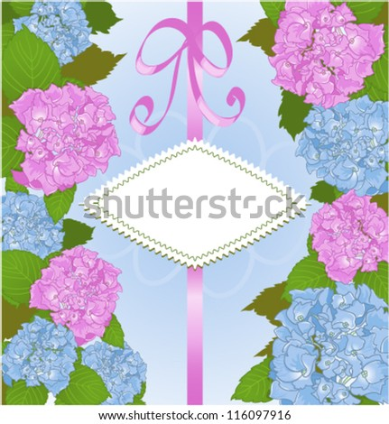 Invitation card with hydrangea flowers. Vector decorative background or invitation card with hydrangea flowers and copy space.