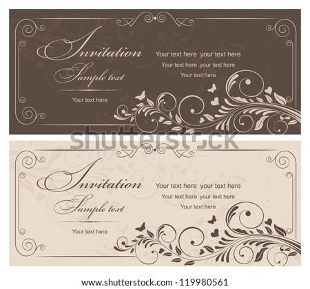 Invitation card with ornament brown and beige color - stock vector