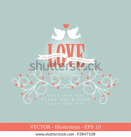 Invitation card with pigeons Wedding or Valentine`s Day Vector illustration
