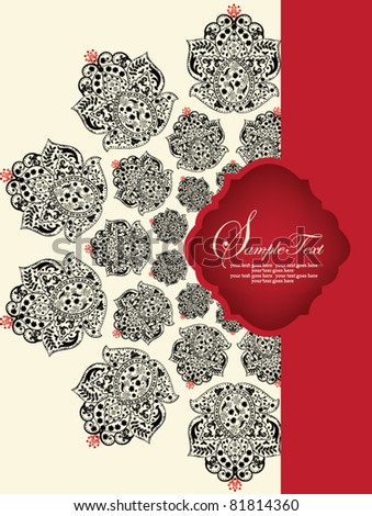 invitation card with red and black elements