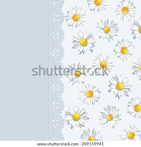 Invitation card with summer background. Greeting card. Cute pattern with flowers, floral kid illustration.  #209159941