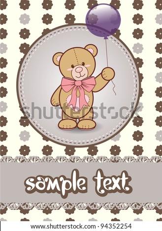 invitation card with teddy bear