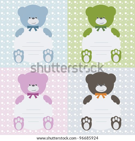Invitation card with teddy bears