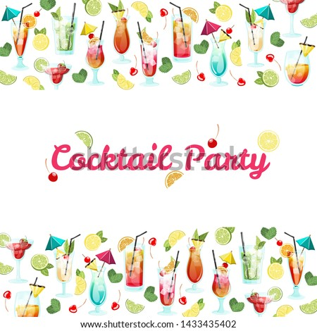 Invitation card with tropical cocktails and text in a frame. Summer party background #1433435402
