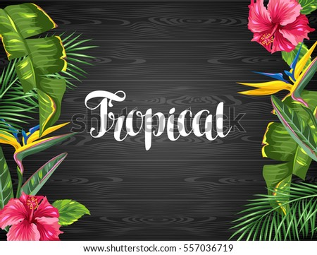 invitation card with tropical