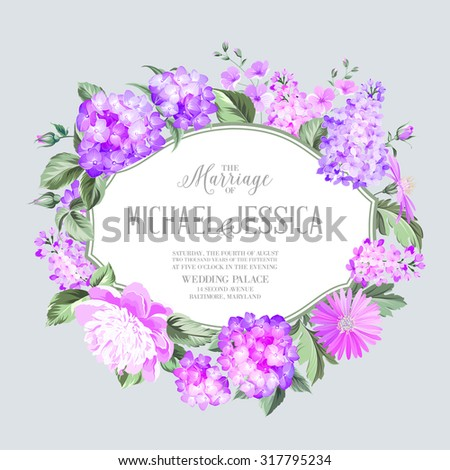 Invitation card with violet garden blooming flowers. Invitation card template with blooming hydrangea and custom text on the gray background Violet colored composition. Vector illustration. #317795234