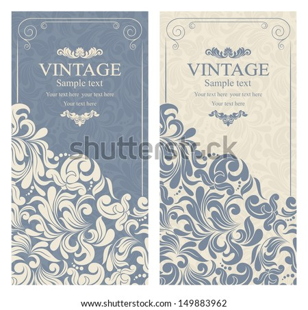 Invitation cards baroque blue beige