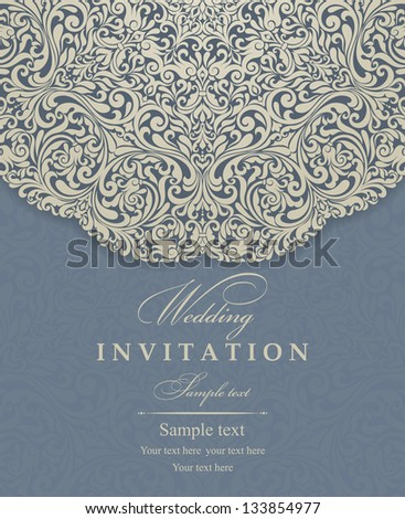 Invitation cards baroque gold blue
