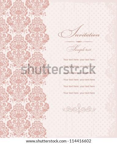 invitation cards baroque pink