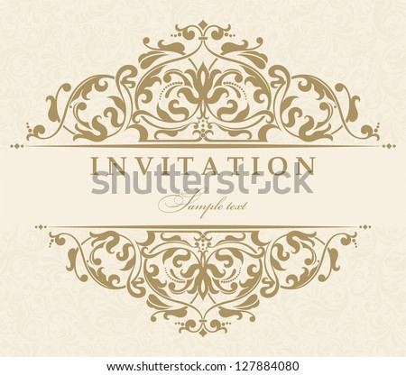 Invitation cards in an old-style beige