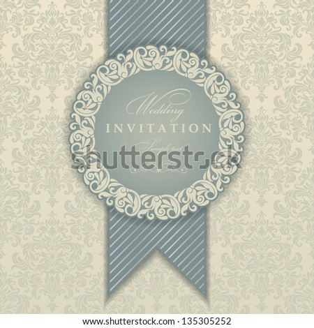 Invitation cards in an old-style blue and beige