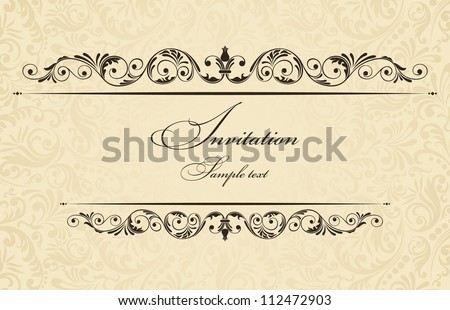 Invitation cards in an old-style gold
