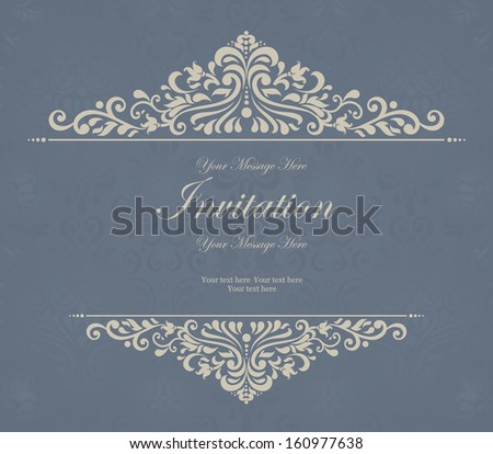 Invitation cards in an old-style grey and blue