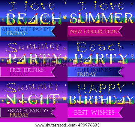 Invitation cards to parties. White houses font. Summer beach. Summer party texts. Happy birthday. Banners for custom texts. Stars in the sky. Vector Illustration #490976833