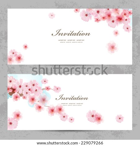 invitation cards with a blossom