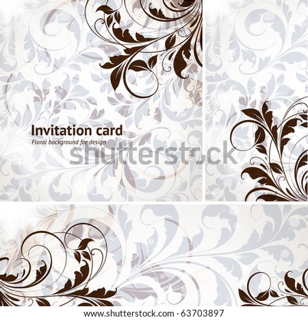 invitation complete card set with seamless background, retro leafs and vintage flowers for design.