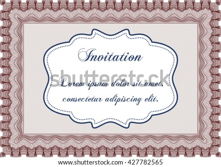 Invitation. Complex design. Printer friendly. Detailed.