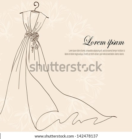 stock-vector-invitation-decorated-with-wedding-dress-on-a-hanger-on-vintage-background