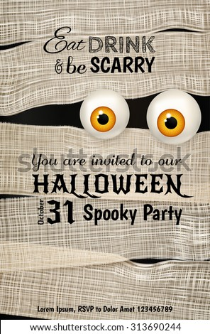 Invitation design for Halloween party with Mummy's big shiny yellow eyes. Funny Halloween background. Can be used for greeting card, invitation, poster, flyer. Vector illustration