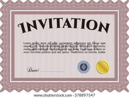 Invitation. Detailed. Easy to print. Nice design.