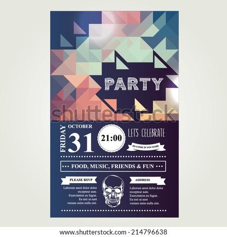 Invitation disco party.Typography.Vector illustration.