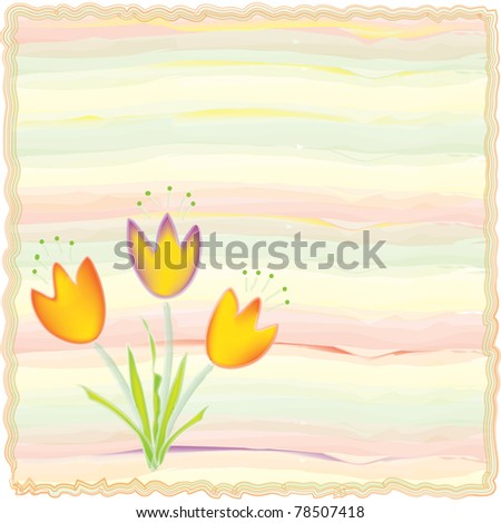 Invitation floral card on watercolor background