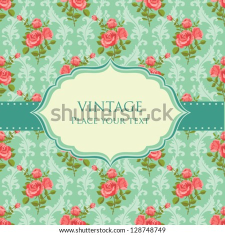 Invitation floral retro card vector frame blooming roses