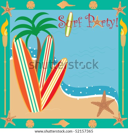Invitation for a beach or surf party with room for your type