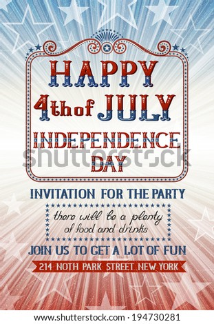 Invitation for fourth of july holiday. EPS 10 contains transparency