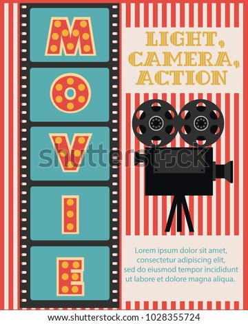 Invitation for Movie party, Hollywood party poster. Cinema poster. Vector illustration