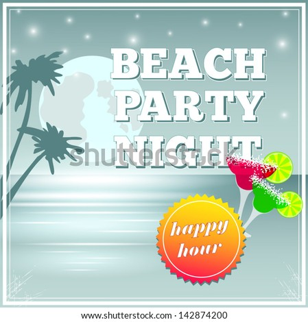 Invitation for night beach party #142874200