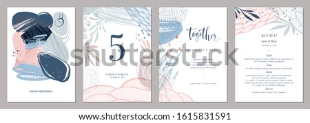 Invitation, menu, table number card design. Floral wedding templates. Good for birthday, bridal and baby shower. Vector illustration.