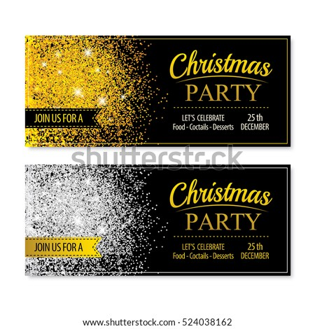 Invitation merry christmas banner and card design template.Gold and white glittering theme concept.